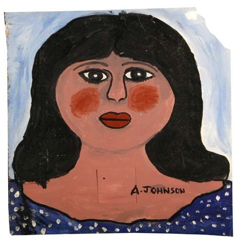 """66: Anderson Johnson-""""Women"""". Paint on panel, signed. P"""