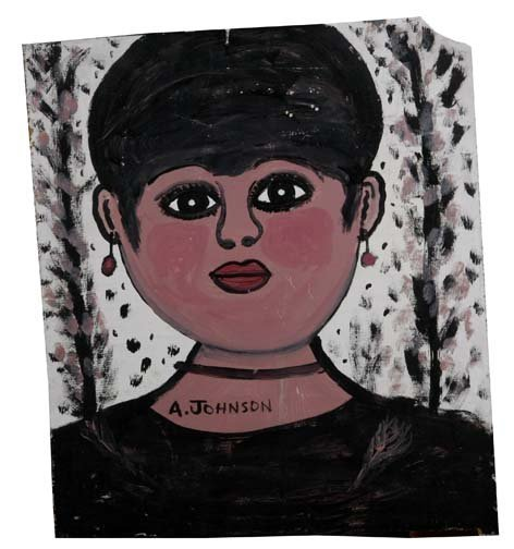 """67: Anderson Johnson-""""Women"""". Paint on plywood, signed."""
