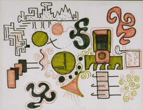 """69: Jeff Hirsch-""""Untitled"""". Marker on paper. Formerly f"""