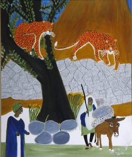 """71: Evelyn Gibson-""""Leopards"""". Paint on canvas board, si"""