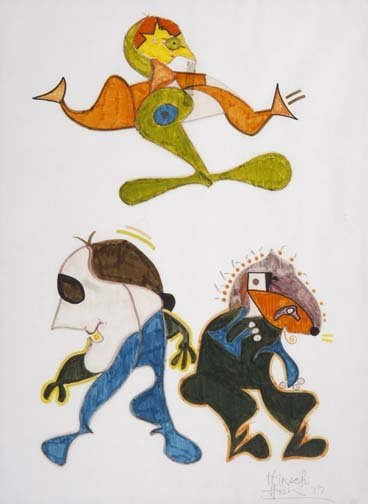 """72: Jeff Hirsch-""""Untitled"""". Marker on paper, signed and"""