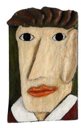 """Elwyn Hudson-""""Dante"""". Paint On Reliefed Wood. Piece"""