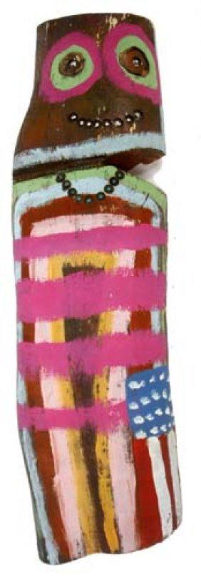 """Leland Holiday-""""Totem"""". Paint On Wood Stump, Signed"""