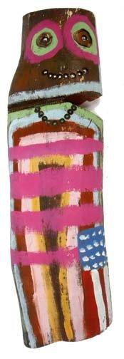 """97: Leland Holiday-""""Totem"""". Paint on wood stump, signed"""