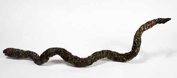 "100: Willie Massey-""Snake"". Paint on aluminum foil cons"
