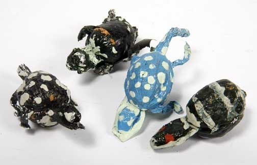 "108: Willie Massey-""Turtles"". Paint on aluminum foil, e"
