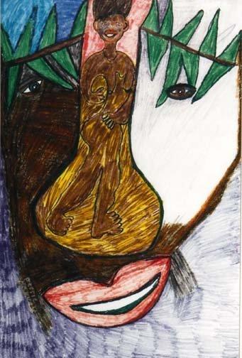 """110: Bessie Harvey-""""Untitled"""". Marker on paper. Piece i"""
