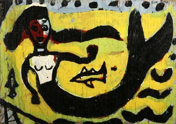 "112: Rick Bane-""Mermaid"". Paint on plywood, double side"