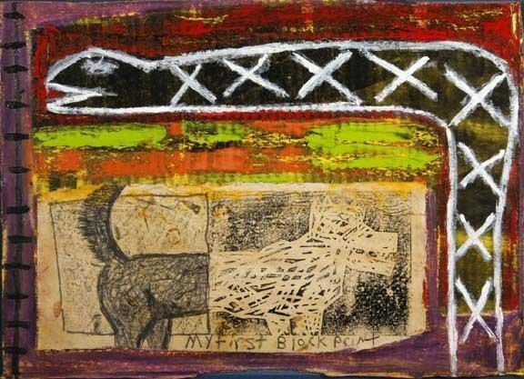 "113: James Yuan-""My First Block Paint"". Paint on cardbo"