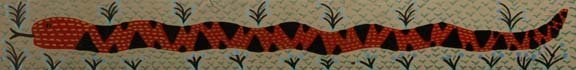 """114: RA Miller-""""Snake"""". Paint on wood. Piece is 44 1/4"""
