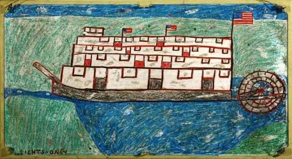 "115: Baltimore Glassman-""Riverboat"". Crayon and paint o"