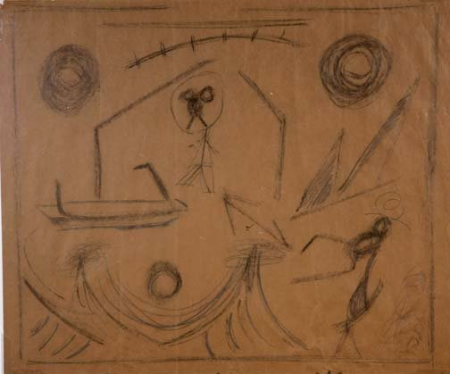 "116: Francois Deguerce-""Untitled"". Pencil on paper bag."