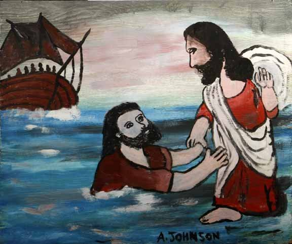 """119: Anderson Johnson-""""Baptism"""". Paint on board, signed"""