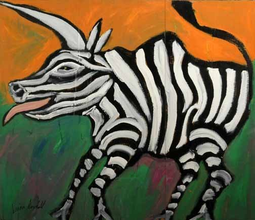 """120: Brian Dowdall-""""Zebra"""". Paint on cardboard and styr"""