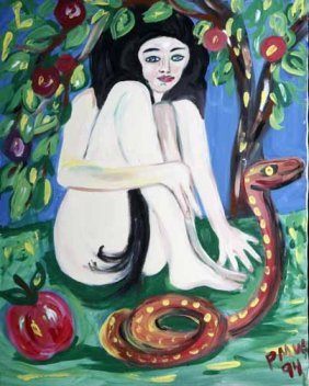 "Pauline Willis-""Eve"". Paint On Canvas, Signed And"