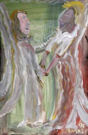 "William Thomas Thompson-""Angels"". Paint On Canvas,"