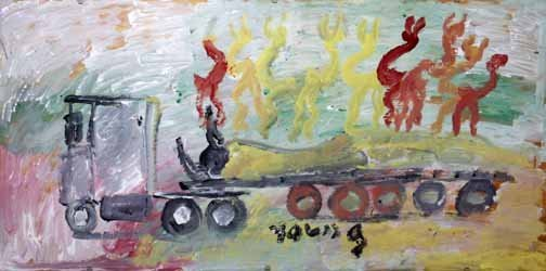 "185: Purvis Young-""Truck"". Paint on plyboard, signed. P"