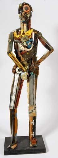 "465: Leo Sewell-""Media Man"". Mixed media lifesize figur"