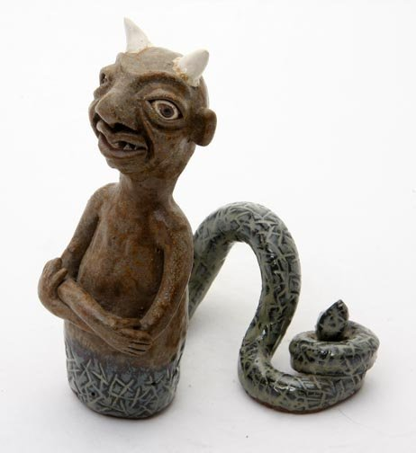 "3: J.G. Dunning, ""Devil Serpent Figural"".  Fired and gl"