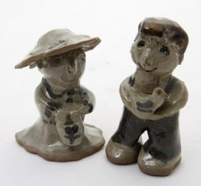 "Owens Family, ""Couple""  Fired And Glazed Pottery, Si"
