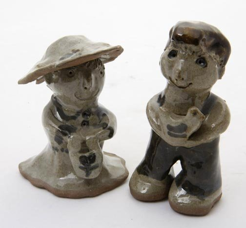 "5: Owens Family, ""Couple""  Fired and glazed pottery, si"