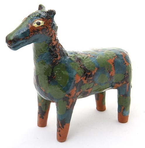 "6: Ellen Martin, ""Mottle Horse""  Fired and glaze potter"
