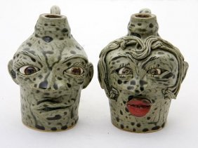 "Lin Craven ""Frog Couple""  Fired And Glazed Pottery"