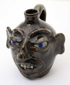 """Daniel Boone, """"face Jug """"  Fired And Glazed Pottery"""
