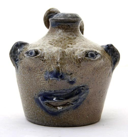 """62: Charlie West- """"Snake Handle face jug""""  Fired and gl"""