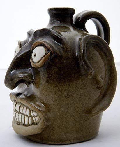 "71: Michel Bayne Edgefield- ""face jug""  Fired and glaze"