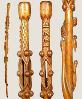 1: Pair of American Folk Art Canes-Circa 1893 and 1921-