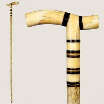 4: Nautical Whale Bone and Ivory Cane-Circa 1875-Ivory