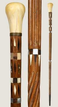 6: Inlaid Sailor Made Ivory Cane-Mid 19th Century-A mas