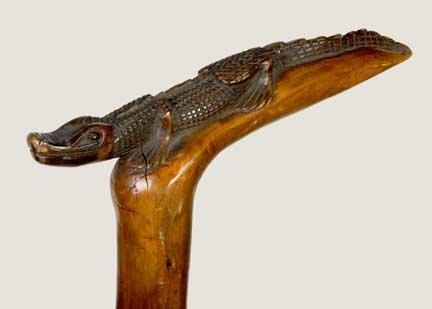 8: Confederate Veterans Folk Art Alligator Cane-Dated 1