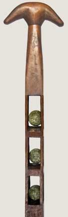 9: Three Ball Whimsy Folk Art Cane-Late 19th Century-A