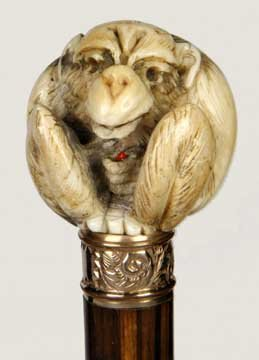 16: Erotic Ivory Monkey Cane-Circa 1910-A very nicely c