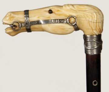 19: Massive Silver and Ivory Horse Cane-Dated 1848-This