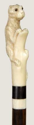 20: Ivory Feline Dress Cane-Circa 1880-A carved ivory h