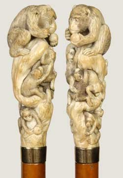 24: Carved Japanese Ivory Dress Cane-C. 1890-This whims