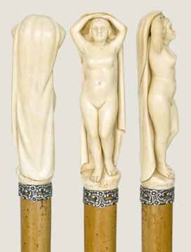 79: Carved Ivory Nude Cane-Late 19th Century-Massive ca
