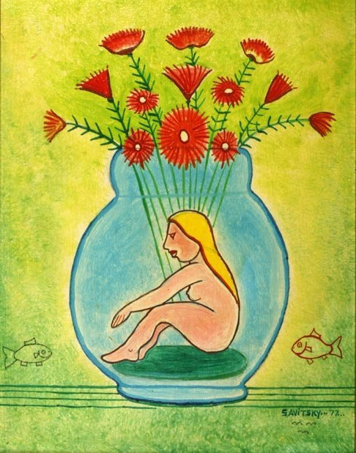 "81: Jack Savitsky, ""Girl in a Bottle"". Outsider Art"