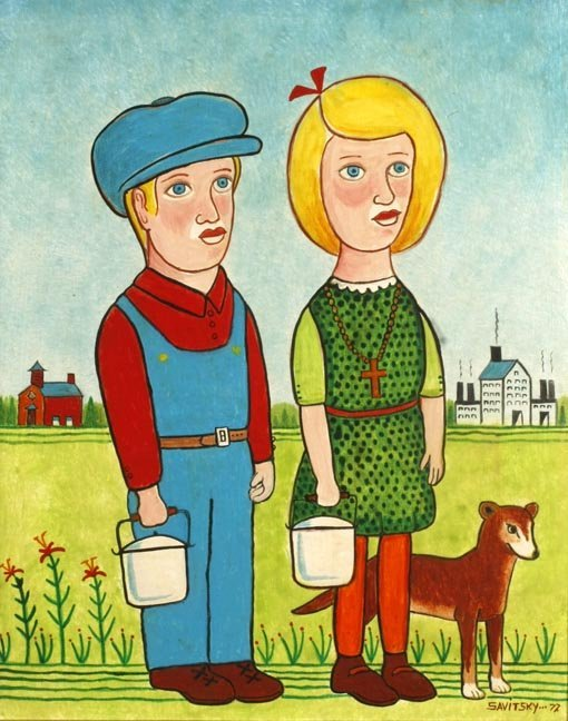 "82: Jack Savitsky, ""Jack and Jill"". Oil on canvas panel"