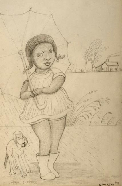 "83: Jack Savitsky, ""April Showers"" Pencil drawing and m"