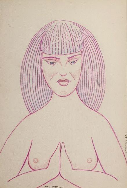 "84: Jack Savitsky, ""Miss Premm"", Colored pencil and mea"