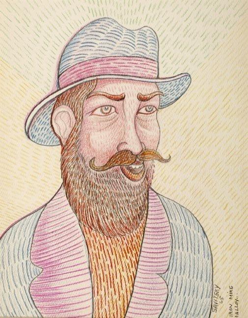 "85: Jack Savitsky, ""Iron Mike Malloy"". Colored pencil a"