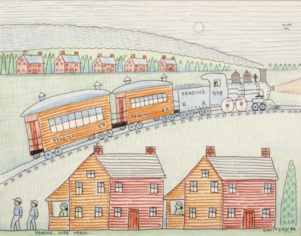 "86: Jack Savitsky, ""Reading Nite Train"". Crayon and ink"