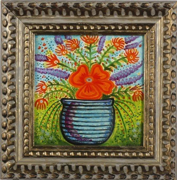 """87: Jack Savitsky, """"Vase of Flowers"""". Oil on masonite a"""