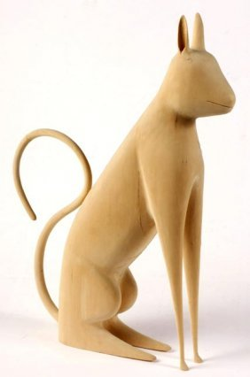 "Linville Barker, ""Cat"".  Carved Wood, Signed And Da"