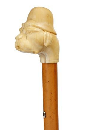1: Whale Tooth Ivory Dog Cane- C. 1870- A whale tooth t