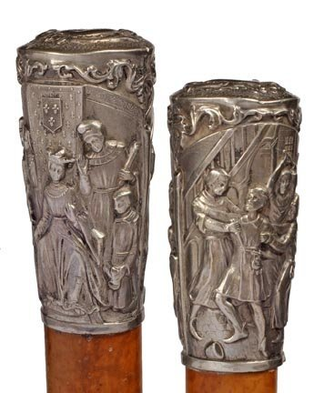 4: French Inquisition Silver Cane- Mid 19th Century- An